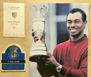2000 The Open Championship Golf - Tiger Woods photo w/trophy, Tiger Bagtag, Card