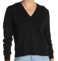 NWT J. Crew Slub Knit V Neck Light Cotton Sweater Black Size 2XL