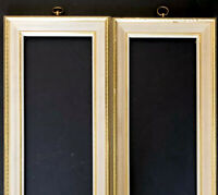 """Wood Picture Frames Pair Gold Carved 23""""x10"""" Wall Hang Fits 7x20 Vtg Mid Century"""
