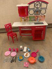 Barbie Doll Pink Glam Kitchen Island Stove Sink Furniture Food Dish Accessories