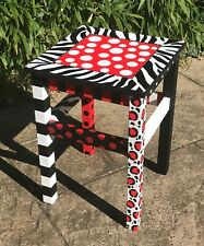 Stool, Table, Leopard,zebra, funky, hand painted, whimsical, Alice in Wonderland