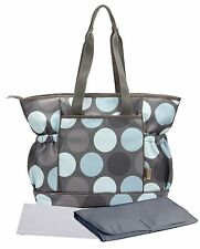 Bellotte Stylish Cute Baby Tote Diaper Bag Mommy Bag Gray with Baby Blue Dot