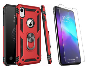 Apple IPhone X Xs Xs Max Case Red Flexible Ring-Grip HD Glass Screen Protector📱