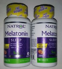 2 X Natrol Melatonin 3mg Fast Dissolve Sleep Aid - 90 tablets Strawberry flavor