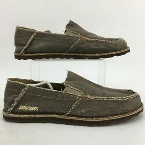 Brew Shoes Carpe Beverage Slip On Loafers Mens 11 Grey Canvas Distressed Casual