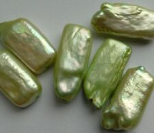 6 Iridescent Green Freshwater Pearl Rectangle Beads. 20mm Jewellery/Crafts