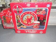 NEW IN BOX ENESCO VINTAGE COCA COLA COOKIE PLATE & TUMBLER PLUS HOLIDAY ORNAMENT