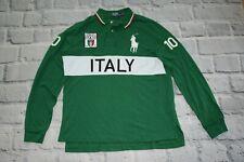RALPH LAUREN polo shirt long ITALY jersey green trikot cottonbig pony  size XL