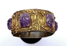 1930's Chinese Gilt Silver Filigree Amethyst Carved Carving Bracelet Butterfly