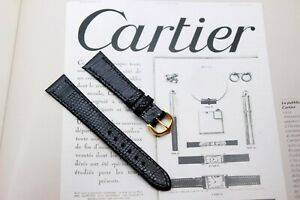 CARTIER TANK ( Le Must )BLACK LIZARD STRAP 18mm With BUCKLE-NEW(Santos Panthere)