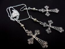 A TIBETAN SILVER  CROSS NECKLACE AND EARRING SET. NEW.