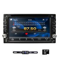 6.2'' 2 Din Stereo Car Radio GPS Sat Nav Bluetooth USB UK MAP MP5 Player +Camera
