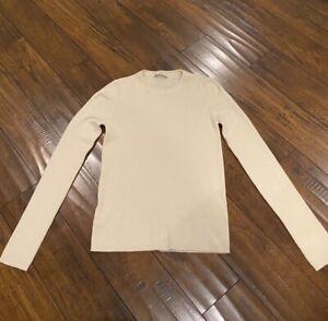 PRADA Cashmere Silk Creme Long Sleeve Shirt - Size 42