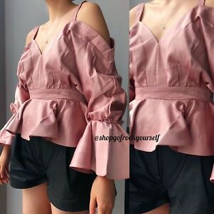 Pink satin silk strap frill sleeve top BNWT S M L fit flare blouse camisole tank