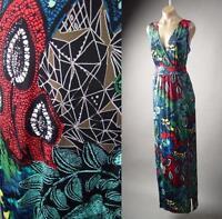 Colorful Exotic Global Print Faux Wrap Party Long Maxi 223 mv Dress 1XL 2XL 3XL