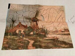 Antique Wooden Jigsaw Puzzle 136 pcs Dutch Landscape with Windmills