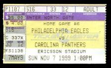Football Ticket Carolina Panthers 1999 11/7 Philadelphia Eagles