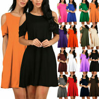 Women Cold Shoulder Short Sleeve Tunic Top Loose Swing T Shirt Dress with Pocket