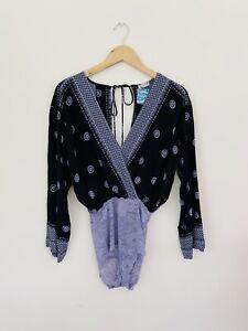 Free People On Board Surplice Long Sleeve Lace Purple Black Bodysuit Size XS NWT