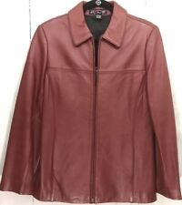 JG HOOK Woman's Deep Red Leather Coat Classic Slimline Zip Front Size S