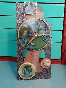 Marc's Studio Ceramic & Metal Art Wall/Desk Clock Contemporary Unique Steampunk