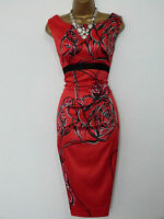 Karen Millen Graphic Floral Rose Print Pencil Wiggle Dress Size 14