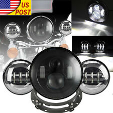 "7"" LED Hi-Lo TP Headlight Passing Lights For Harley Davidson Touring Road King"