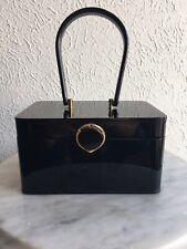 Rare Vintage Lucite Wilardy Purse Black Gold Claps