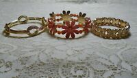 VINTAGE TO NOW ASSORTED RHINESTONE & LUCITE GOLD TONE STRETCH BRACELET LOT