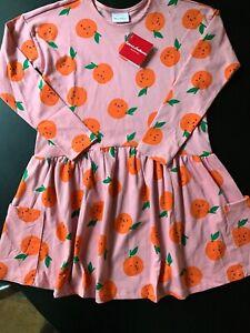 Hanna Andersson Pink Multi Cotton Dress HAPPY ORANGE Fruit Dress Size 10/140 $44