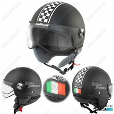 HELMET DEMI JET HELMET MOTORRAD APPROVED SATIN CHESSBOARD ITALY ROYAL ENFIELD