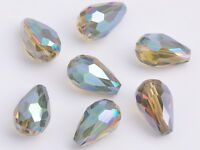 20pcs Teardrop Faceted Crystal Glass Loose Spacer Beads 12X8mm Yellow Colorized