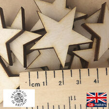 Pack of 30 Blank Wooden Stars 40mm Birch Ply Craft