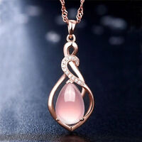 Fashion Women Rose Gold Plated Opal Crystal Pink Pendant Necklace Chain Jewelry