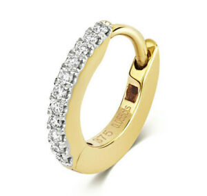 9CT HALLMARKED YELLOW GOLD G/H SI DIAMOND SET EAR CARTILAGE HUGGIE HOOP EARRING