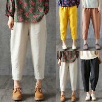 Femme Rétro Coton Lin Pantalons Taille Elastique Couleur Unie Loose Trousers