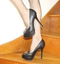 ASOS Sexy Very High Heel Stiletto Spike Shoes 5 38 Black Peeptoe Worn Ones Club