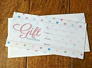 1 x Blank Gift Certificates Voucher + Luxury White Envelope Pastel Hearts