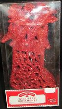 12 Red Stocking Glitter Ornament Christmas Tree Ugly Sweater Holiday