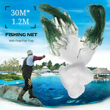 98FT Fishing Net With Float Fish Trap Monofilament Small Mesh Gill Clear Easy