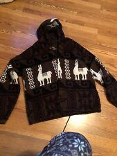 Tejidos Ruminahui Alpaca Wool Knit Hooded Aztec Sweater Jacket Button Up  XL