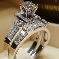 2Pcs/Set Women Men 925 Silver Fashion Ring White Topaz Wedding Gift Size 6-10