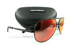 New Dolce & Gabbana Sunglasses DG2141 Matte Black Aviator 11066Q Authentic