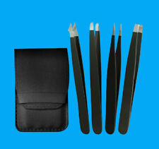 4 pcs Tweezer Set for Ingrown Ingrowing Hair Removal - Black