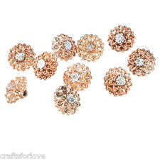 CL 50PCs Rose Gold Rhinestone Round Shank Buttons Clothes Accessories 12mm