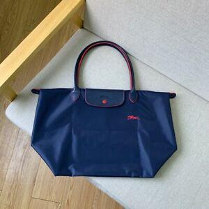 Navy Blue Longchamp Le Pliage STYLE Nylon Tote Womens Bag Horse Embroidery Large