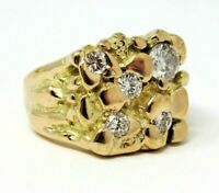 Men's Ring Diamond Cluster Gold Nugget 14K Yellow Gold Heavy 1.25 CTW Size 9.5