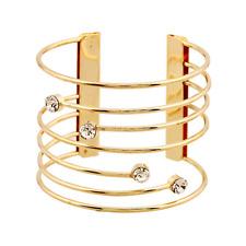 Fashion Women Gold Rhinestone Crystal Punk Open Cuff Bangle Bracelet Jewelry
