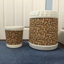 #1398 Vintage Retro 1970s Plysu Housewares Matching Storage Stool and Waste Bin