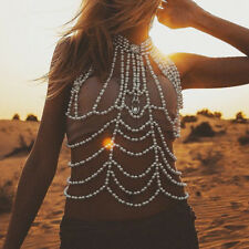 Women Sexy Simulated Pearl Multilayer Body Chain Statement Necklace Body Jewelry